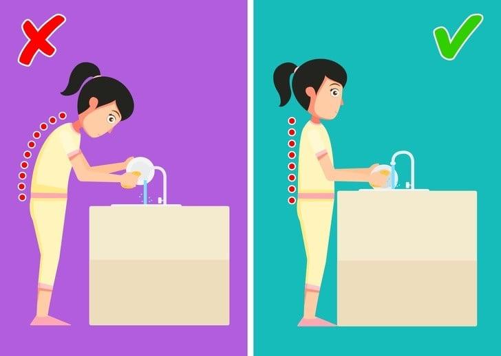 bulaşık yıkarken yanlış ve doğru pozisyon