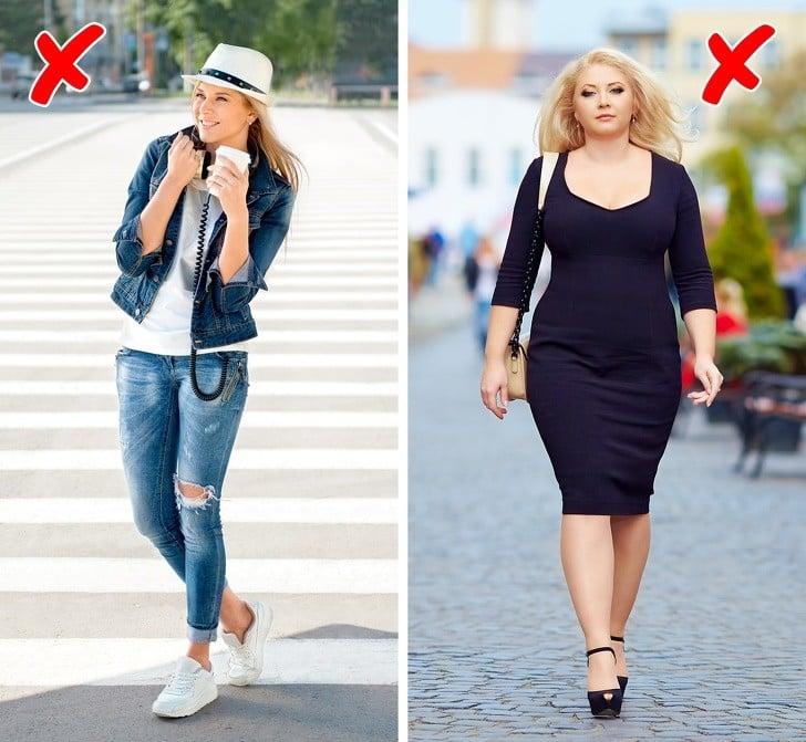 dar giyinen kadın ve elbise giyen kadın
