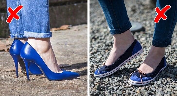 topuklu giyen kadın ve düz tabanlı ayakkabı giyen kadın