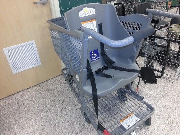 hem engelliler hem de çocuklar için alışveriş arabası