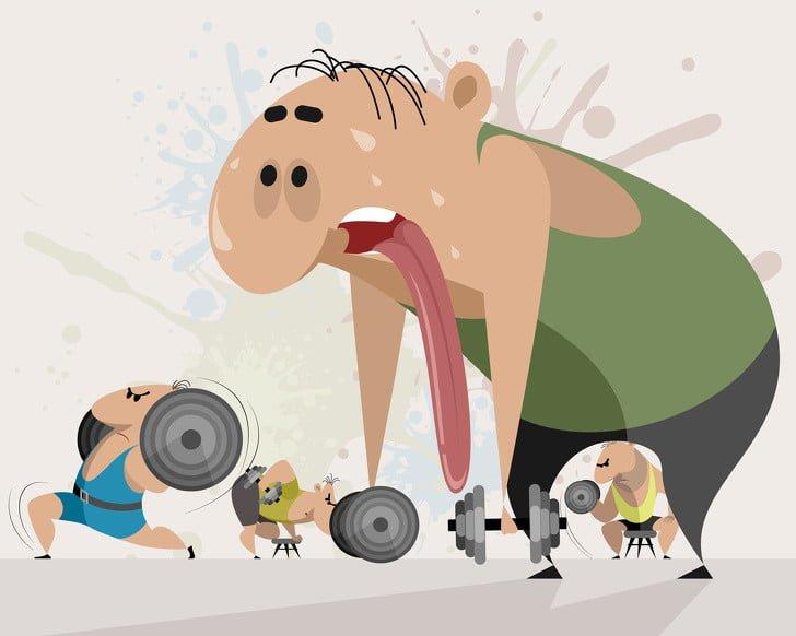 spor yapan ve yorgun düşen adam