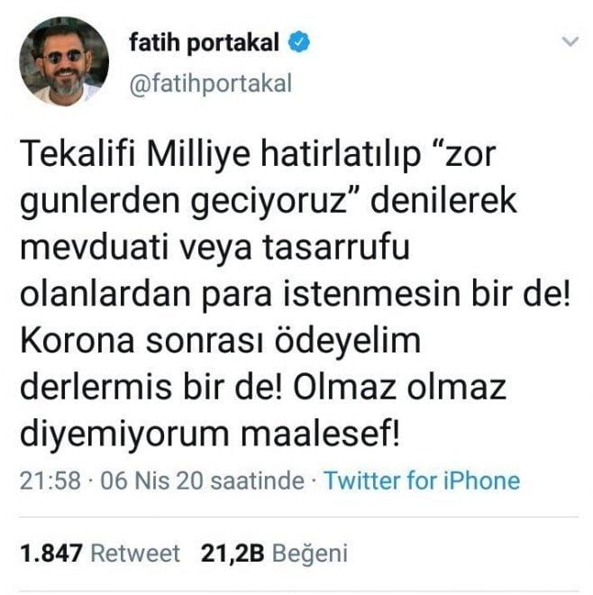 fatih portakla tweet