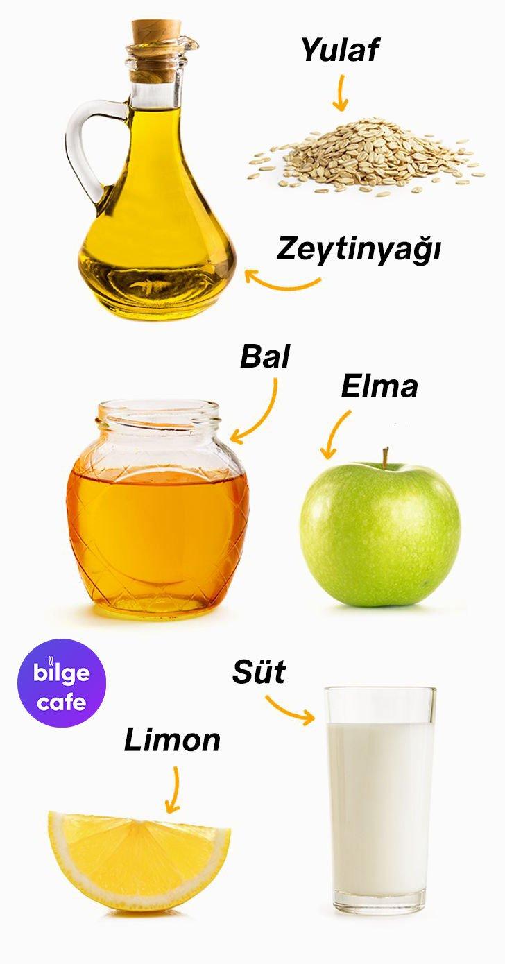 yulaf zeytinyagi bal elma kefir sut limon